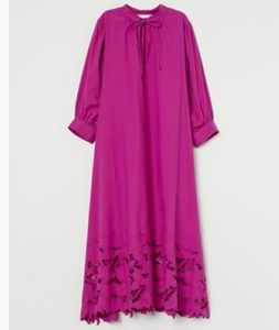 NWT! Fuchsia~Purple Embroided Cotton Kaftan